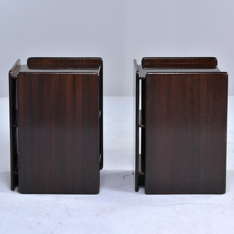 Mid-Century Modern Pair of Dark Walnut Side Tables with Two Open Shelves For Sale