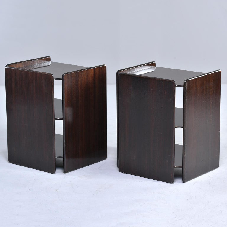European Pair of Dark Walnut Side Tables with Two Open Shelves For Sale