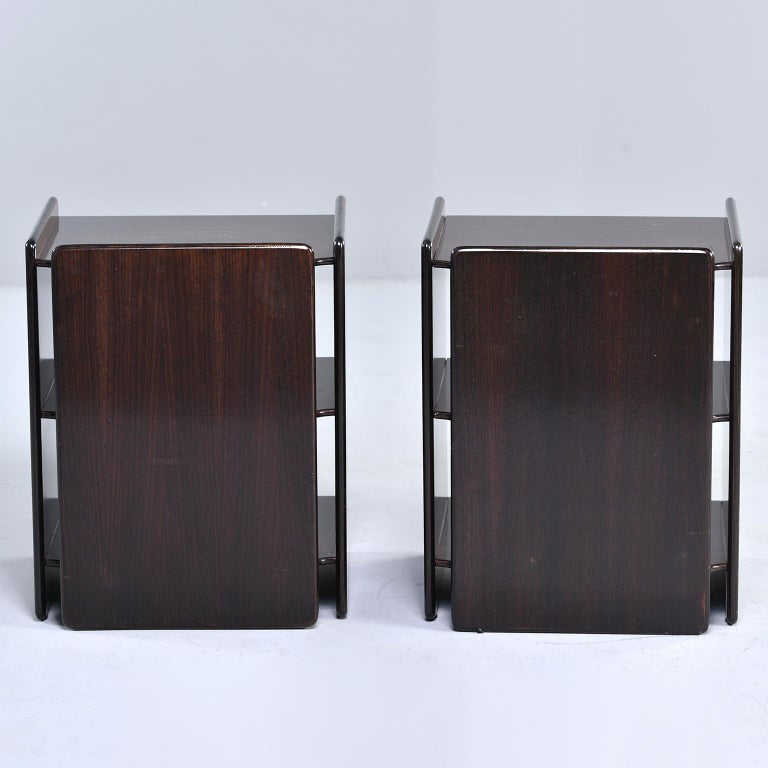 Pair of Dark Walnut Side Tables with Two Open Shelves In Good Condition For Sale In Troy, MI
