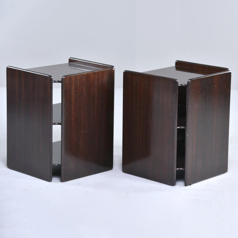 20th Century Pair of Dark Walnut Side Tables with Two Open Shelves For Sale
