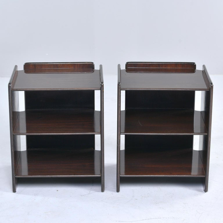 Pair of Dark Walnut Side Tables with Two Open Shelves For Sale 1
