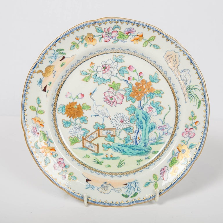 English Pair of Davenport Plates with a Chinoiserie Design Turquoise and Pink For Sale