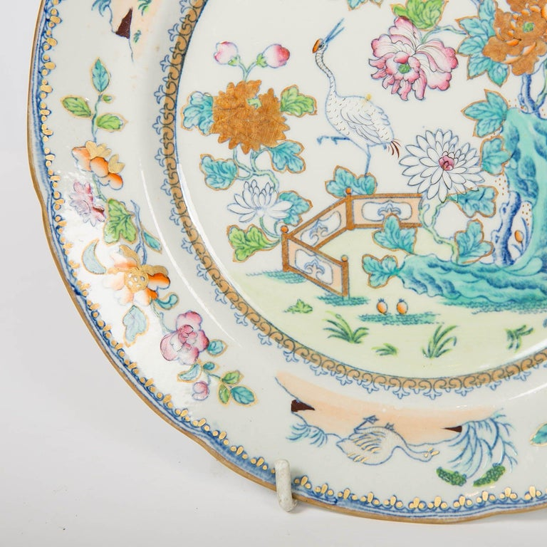 Glazed Pair of Davenport Plates with a Chinoiserie Design Turquoise and Pink For Sale