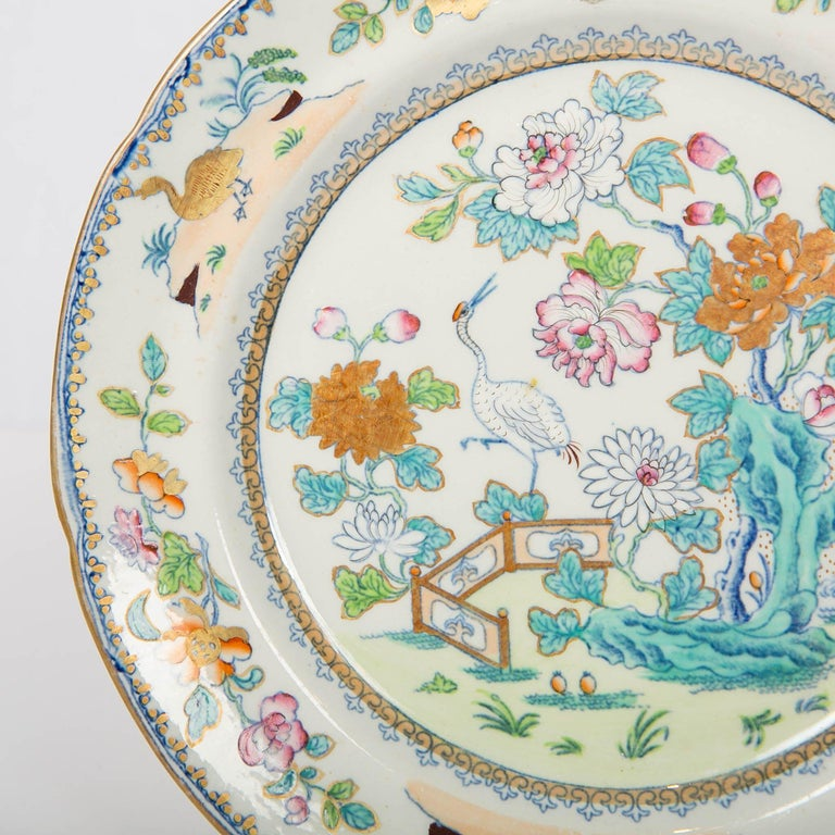 Pair of Davenport Plates with a Chinoiserie Design Turquoise and Pink In Excellent Condition For Sale In New York, NY