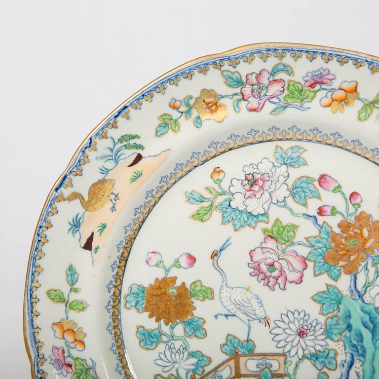 19th Century Pair of Davenport Plates with a Chinoiserie Design Turquoise and Pink For Sale
