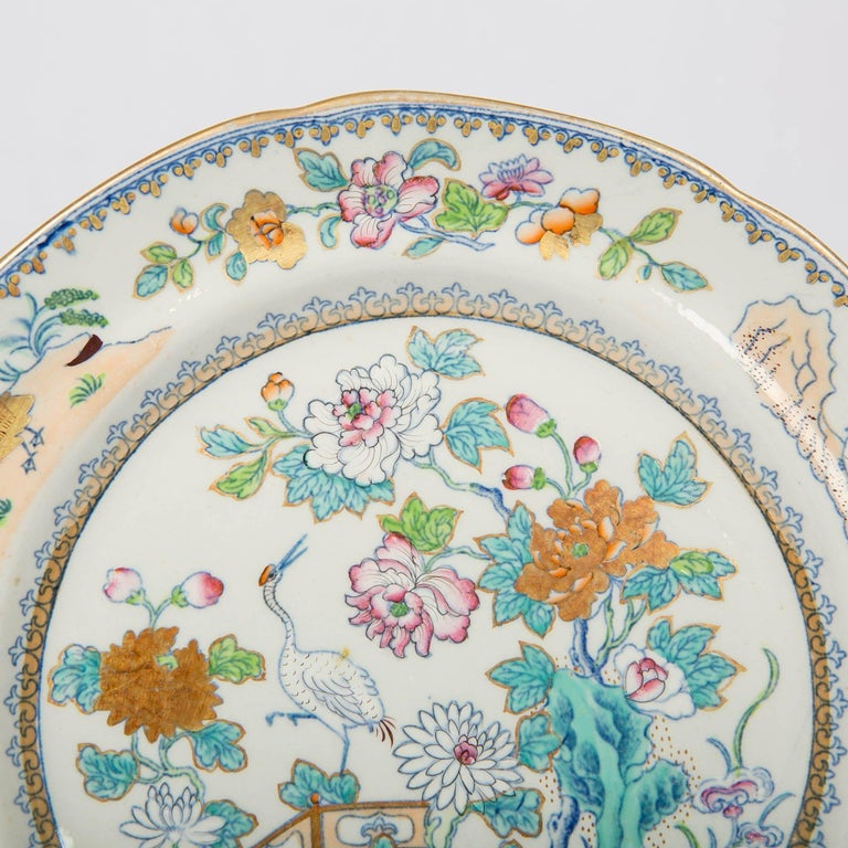 Ironstone Pair of Davenport Plates with a Chinoiserie Design Turquoise and Pink For Sale