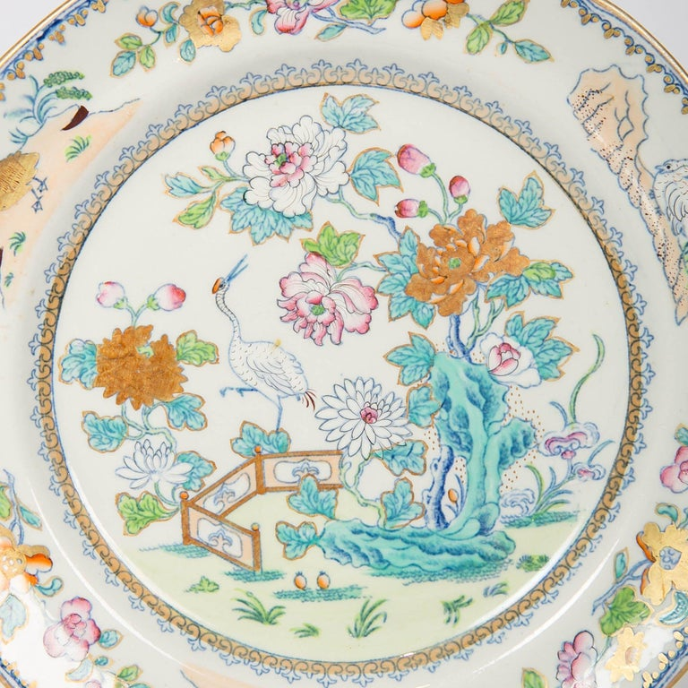 Pair of Davenport Plates with a Chinoiserie Design Turquoise and Pink For Sale 1