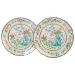 Pair of Davenport Plates with a Chinoiserie Design Turquoise and Pink