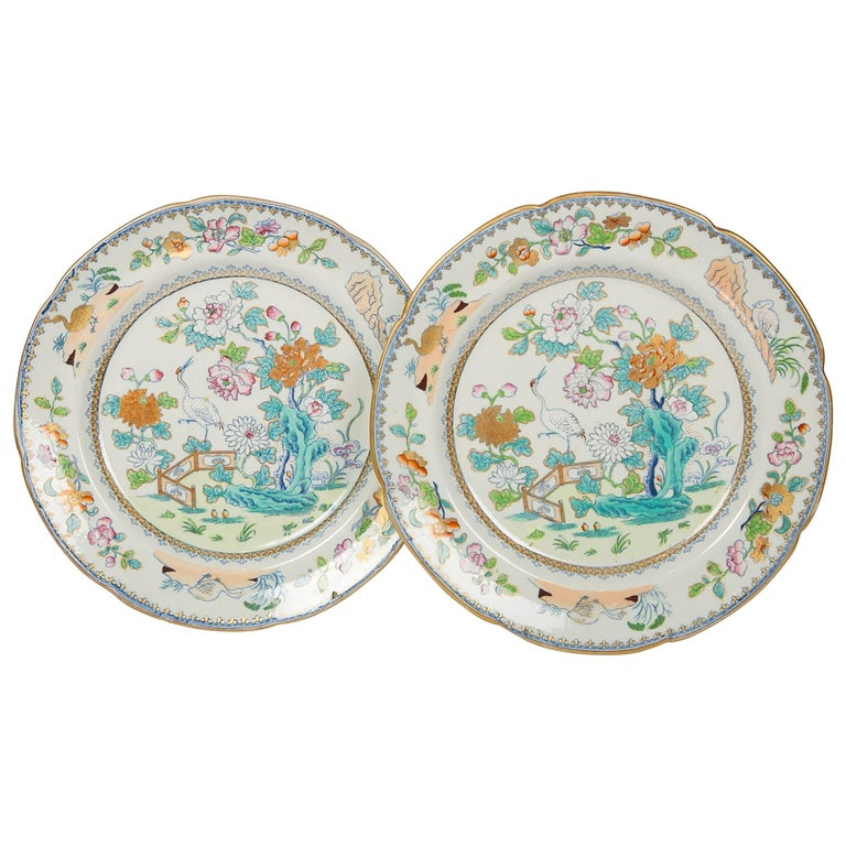Pair of Davenport Plates with a Chinoiserie Design Turquoise and Pink For Sale