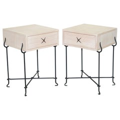 Pair David Lange Bleached Oak Bedside Side Tables Wrought Iron Base Part Suite