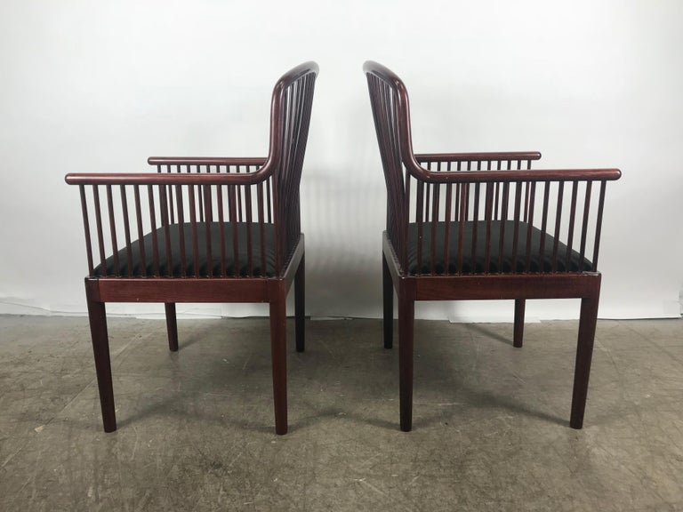 Designed by Davis Allen for Stendig, these Andover chairs demonstrate an interesting mix of design inspiration. Made in Italy, the Andover chairs takes on a Classic, Danish modern profile with hints of Shaker and Mission styles. Nice original