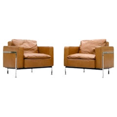 Pair De Sede Robert Haussmann Model RH 302 Lounge Arm Chairs, Leather + Chrome
