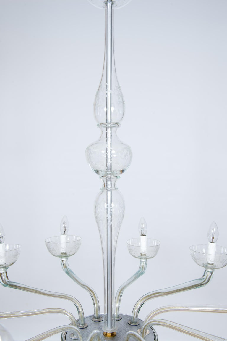 Pair of Deco Chandeliers Hand Carved Clear Color in Blown Murano Glass, Italy For Sale 8