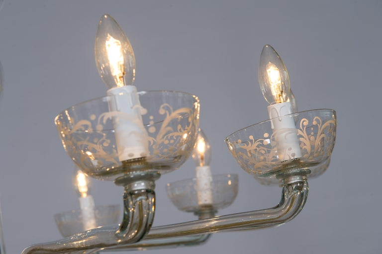 Pair of Deco Chandeliers Hand Carved Clear Color in Blown Murano Glass, Italy For Sale 10