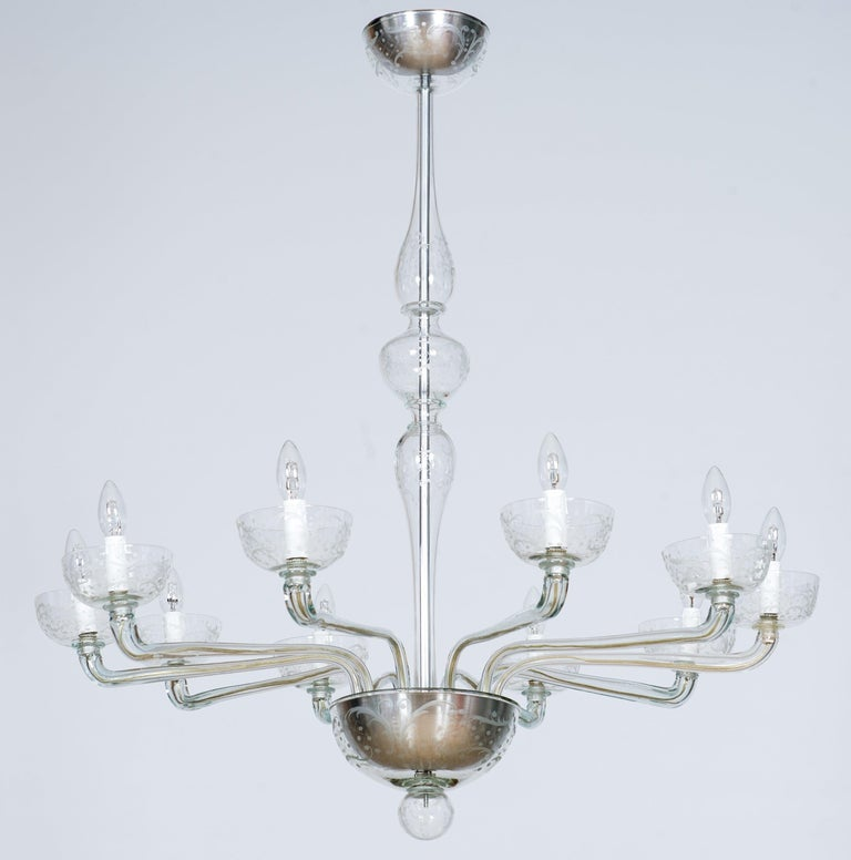 Pair of deco chandeliers hand carved clear color in blown Murano glass, 21st century, Italy