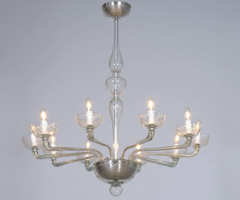 Pair of Deco Chandeliers Hand Carved Clear Color in Blown Murano Glass, Italy For Sale 13