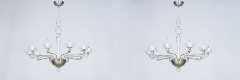 Art Deco Pair of Deco Chandeliers Hand Carved Clear Color in Blown Murano Glass, Italy For Sale