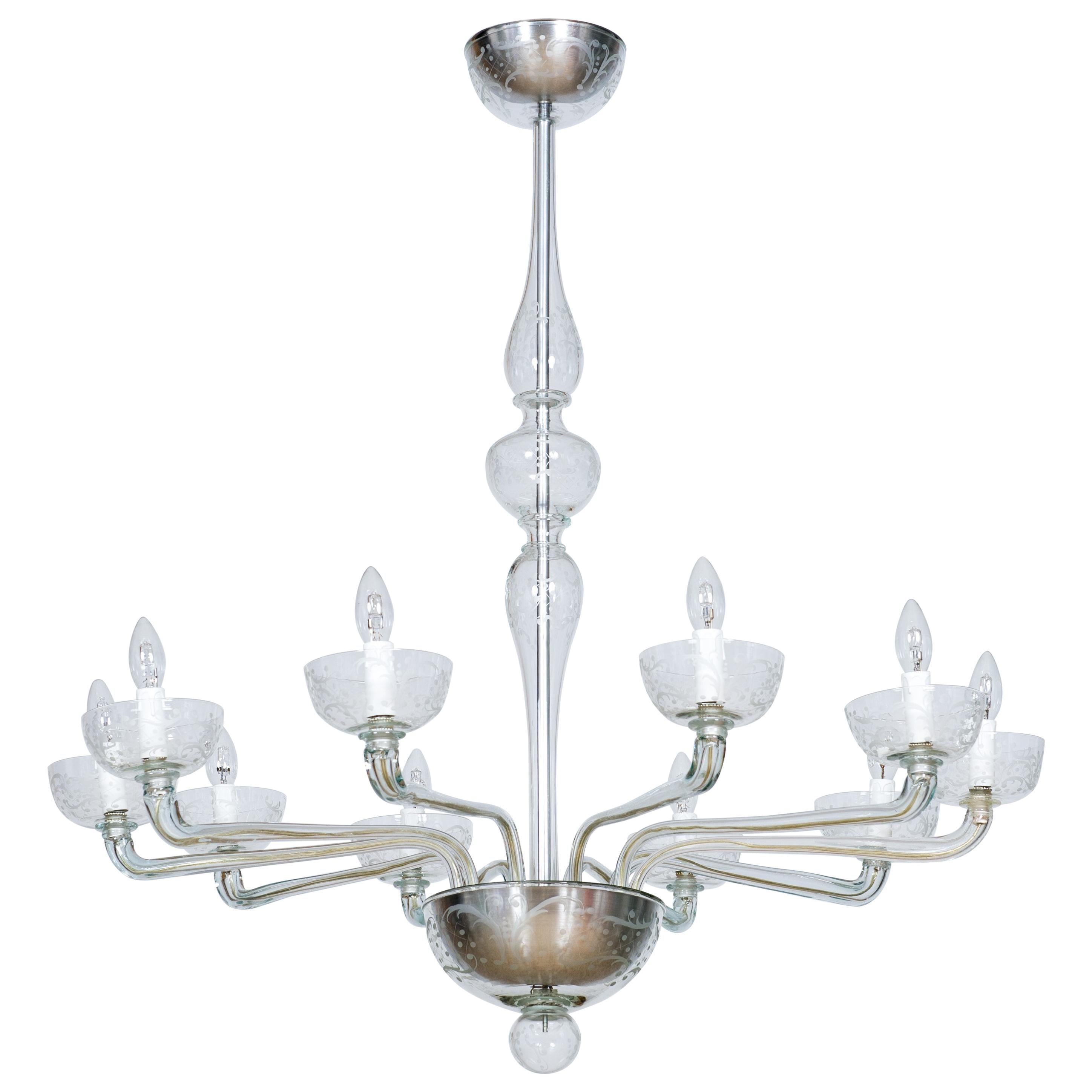 Pair of Deco Chandeliers Hand Carved Clear Color in Blown Murano Glass, Italy