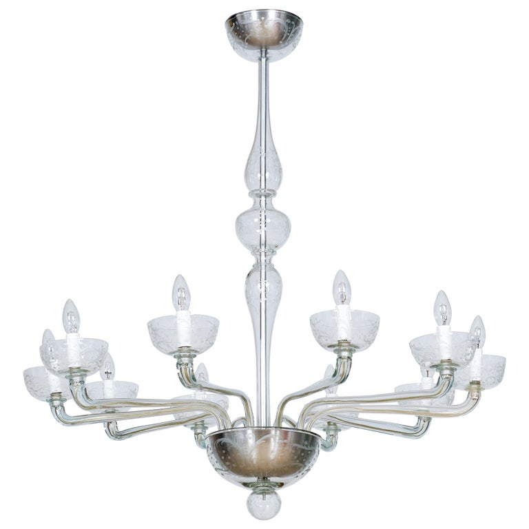Pair of Deco Chandeliers Hand Carved Clear Color in Blown Murano Glass, Italy For Sale