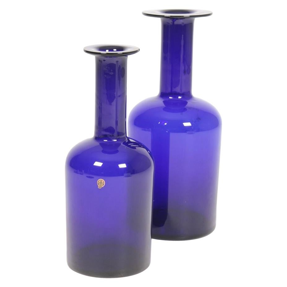Pair of Decorative of Midcentury Vases in Blue Glass by Otto Bauer, 1960s