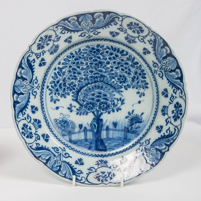 Rococo Pair of Delft Blue and White Chargers in the Theeboom Pattern Made circa 1770 For Sale