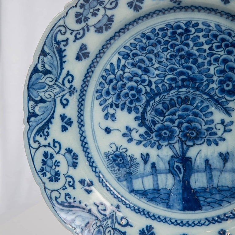 Dutch Pair of Delft Blue and White Chargers in the Theeboom Pattern Made circa 1770 For Sale
