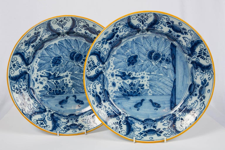 Country Pair of Delft Blue and White Chargers Made circa 1785 For Sale