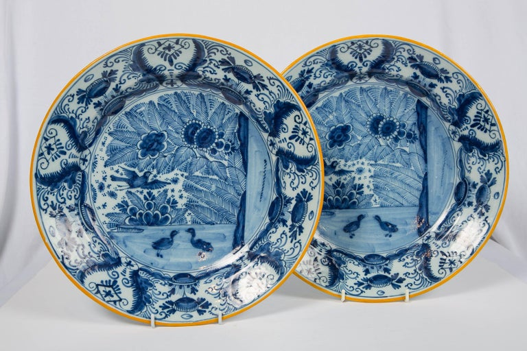 Dutch Pair of Delft Blue and White Chargers Made circa 1785 For Sale