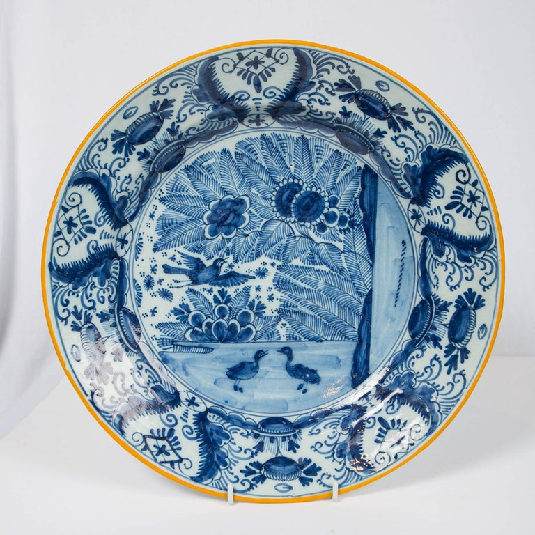 Hand-Painted Pair of Delft Blue and White Chargers Made circa 1785 For Sale