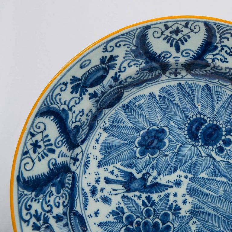 18th Century Pair of Delft Blue and White Chargers Made circa 1785 For Sale