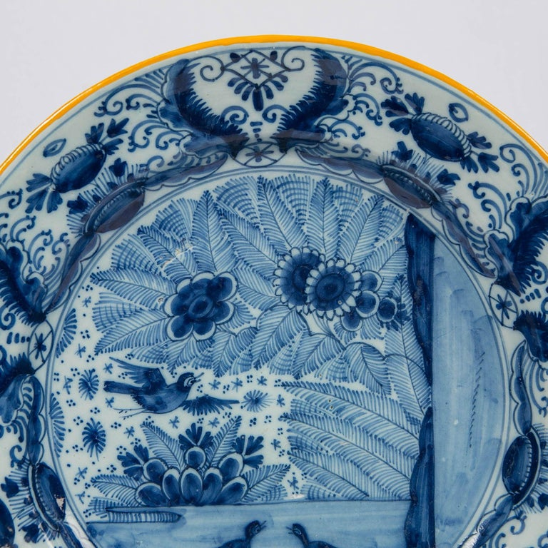Pair of Delft Blue and White Chargers Made circa 1785 For Sale 1