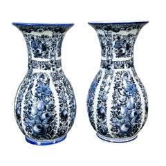 Pair of Delft Vases, 19th Century Blue and White