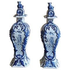 Pair of Delft Vases, Urns, 19th Century Dutch Blue and White