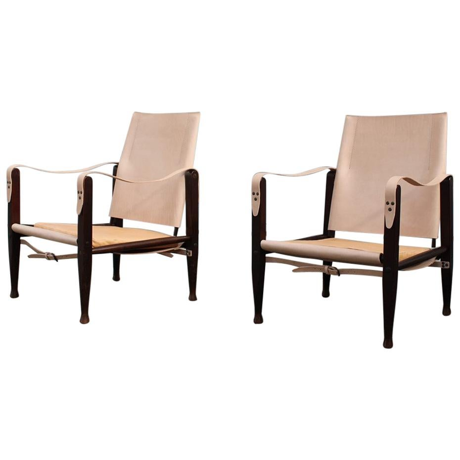 Pair of Denmark Safari Chairs Leather Chestnut Wood, 1960s, Kaare Klint