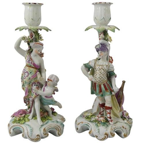 Pair of Derby Porcelain Candlesticks, Venus and Mars, circa 1760