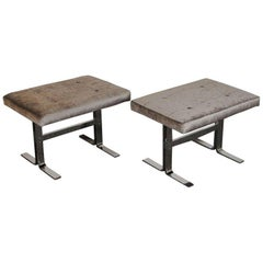 Pair of Design Institute of America Polished Steel Benches by Milo Baughman