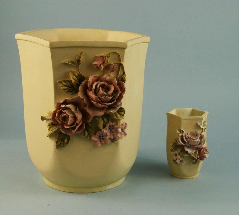 3-498 pair hand painted Desine resin floral vases Measures: Large 7.5 x 8.5 x 9.75