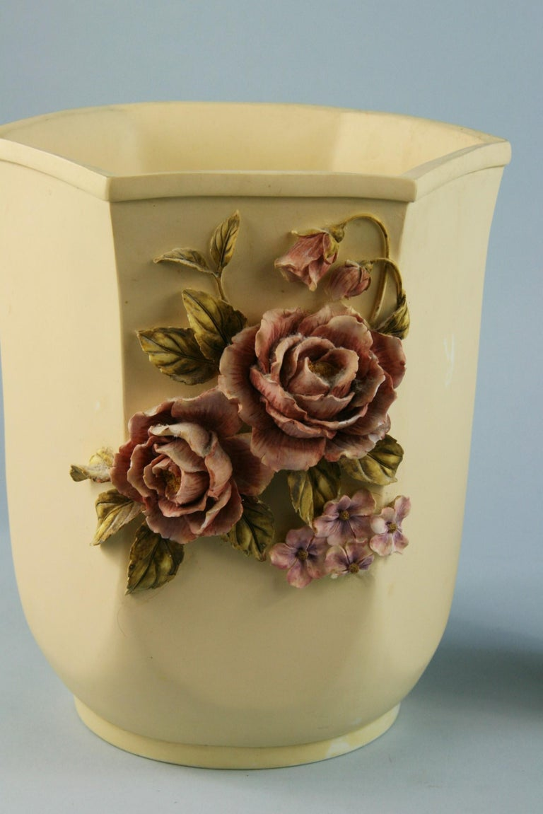 Pair Desine Resin Hand Painted Garden  Vases In Good Condition For Sale In Douglas Manor, NY
