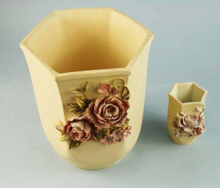 Pair Desine Resin Hand Painted Garden  Vases For Sale 1