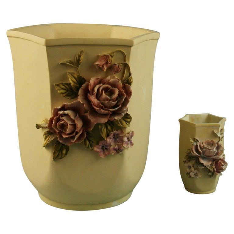 Pair Desine Resin Hand Painted Garden  Vases For Sale