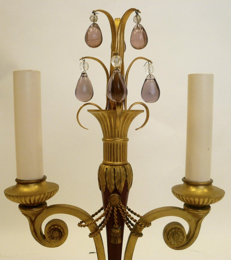 Pair of Directoire Style Gilt Bronze and Tole Painted Candelabra Lamps For Sale 5