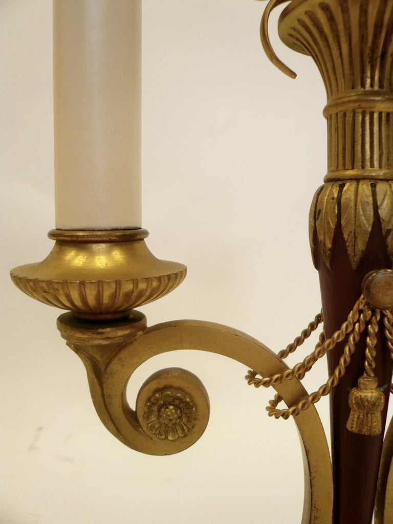 Pair of Directoire Style Gilt Bronze and Tole Painted Candelabra Lamps For Sale 6