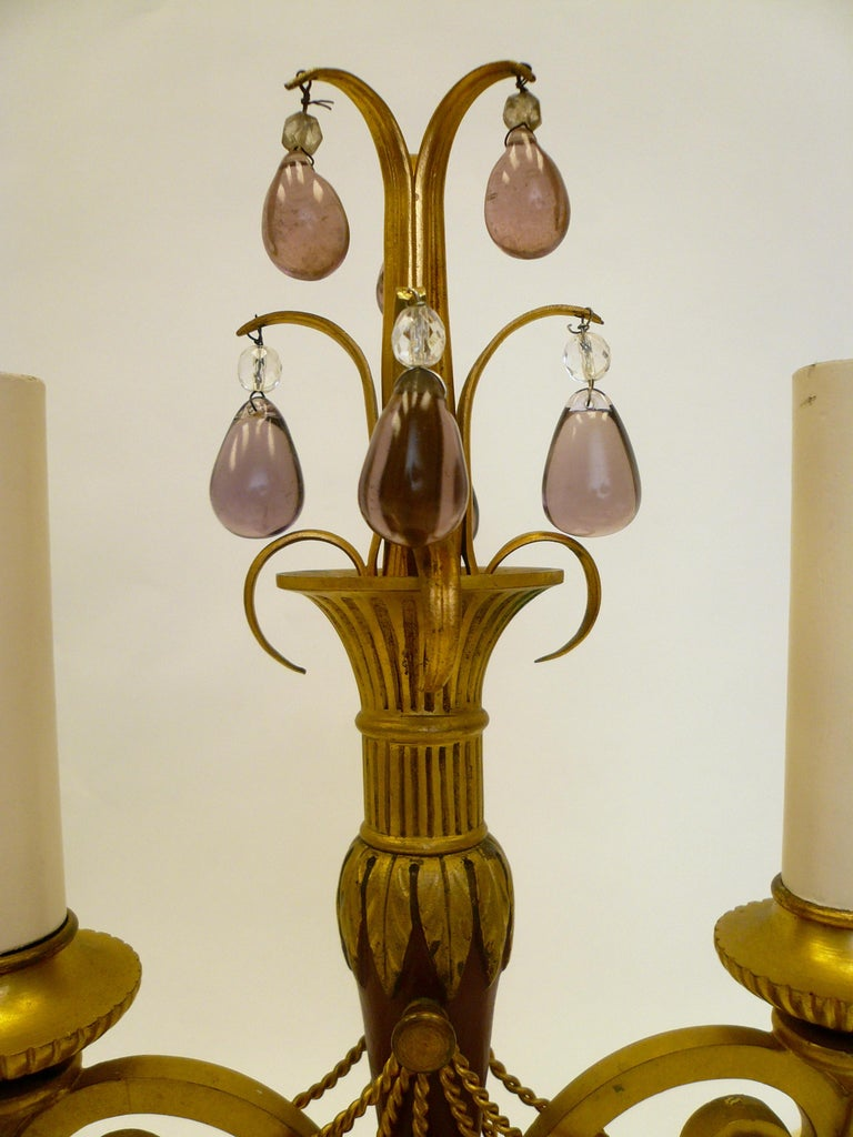 Pair of Directoire Style Gilt Bronze and Tole Painted Candelabra Lamps For Sale 7