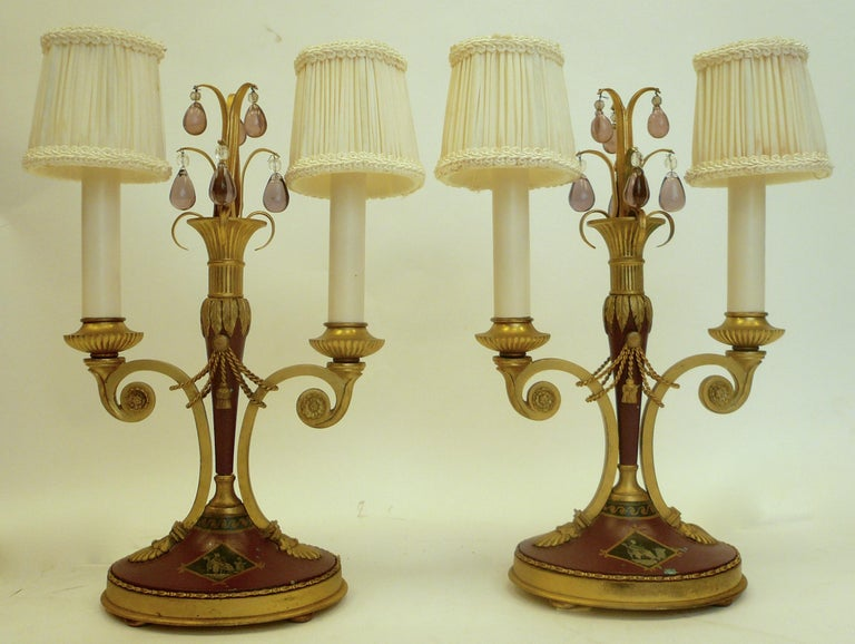 French Pair of Directoire Style Gilt Bronze and Tole Painted Candelabra Lamps For Sale