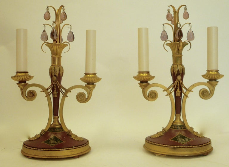 Pair of Directoire Style Gilt Bronze and Tole Painted Candelabra Lamps In Good Condition For Sale In Pittsburgh, PA