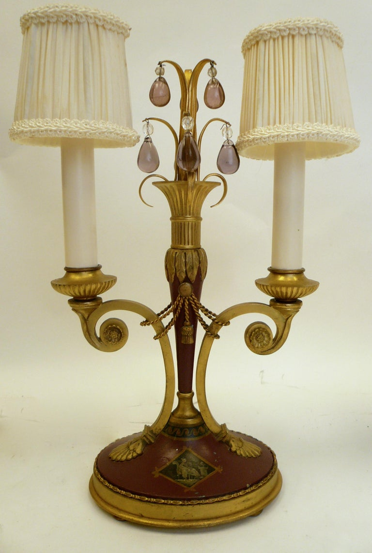 19th Century Pair of Directoire Style Gilt Bronze and Tole Painted Candelabra Lamps For Sale
