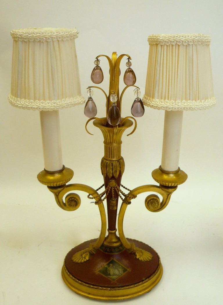 Pair of Directoire Style Gilt Bronze and Tole Painted Candelabra Lamps For Sale 1