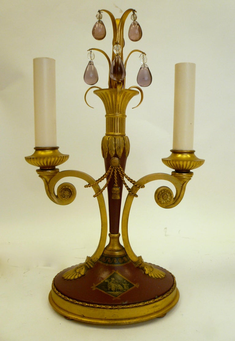 Pair of Directoire Style Gilt Bronze and Tole Painted Candelabra Lamps For Sale 3
