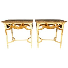 Pair of Dorothy Draper Console Sofa or End Tables, Parcel Gilt & Paint Decorated
