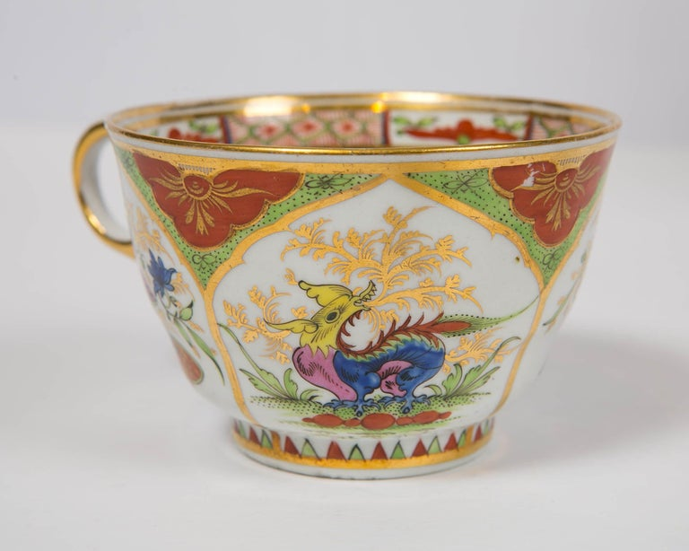Regency Pair Dragons in Compartments Breakfast Cups and Saucers Hand Painted For Sale